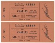 Ray Charles Original 1962 Concert Tickets (2)