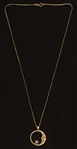 Prince Owned & Worn 14k Gold Crescent Moon and Star Pendant Necklace