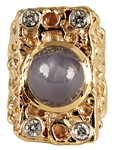 Elvis Presley Owned & Worn 14kt Gold Nugget Sapphire and Diamond Ring