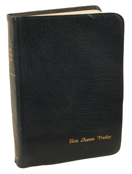 Elvis Presleys 1974 Personally Used, Inscribed and Signed Leather Bible from the Dottie Rambo Collection