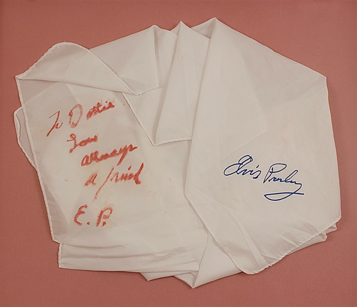 Elvis Presley Handwritten & Inscribed Stage Worn Scarf from the Dottie Rambo Collection