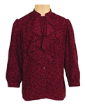 Prince Owned and Worn Wine & Black Print Ruffled Shirt
