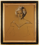 Original Princess Diana Approved Final Sketch for Royal Hussars Official Portrait