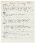 "Southside Johnny Handwritten ""Sweeter Than Honey"" Original Lyrics Original Lyrics From The Album I Dont Wanna Go Home"""