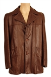 James Brown Owned & Worn London Fog  Brown Leather Coat