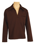 James Brown Owned & Worn Brown Long-Sleeved Pullover Shirt