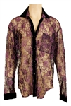 Prince Owned & Worn Circa 1989 Worn Purple Lace Jacket with Black Velour