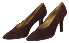 Aretha Franklin Owned and Worn Yves St. Laurent Brown Suede Pumps