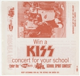 "KISS Original 1976 ""Win An Appearance At Your School With KISS"" WCFL Radio Flyer"