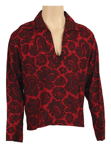 Elvis Presley Owned & Worn Red and Black Paisley Shirt