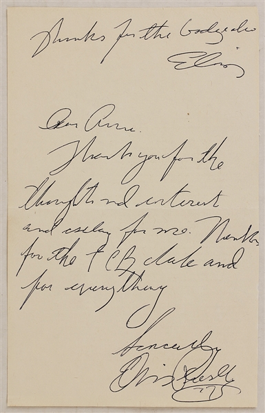 Elvis Presley Handwritten and Twice-Signed Thank You  Note