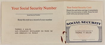 Tommy Bolins Social Security Card with Limited Edition Lithograph Signed by Artist
