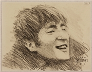 Klaus Voormann Signed John Lennon Original Drawing