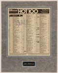 "John Mellencamp Signed Billboard Hot 100 Chart Featuring His #1 Hit Song ""Jack and Diane"""
