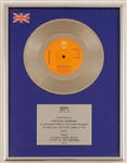 "The Jacksons ""Shake Your Body"" (Down to the Ground) Original BPI Platinum Record Award Presented to Freddy DeMann"