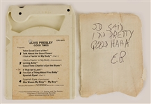 "Elvis Presleys Handwritten and Signed Note with His Personally Owned ""Good Times"" 8 Track Tape"