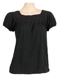 Britney Spears Owned & Worn Black Cap Sleeved Top