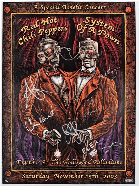 Red Hot Chili Peppers and System of a Down Signed 2003 Original Limited Edition Benefit Concert Poster