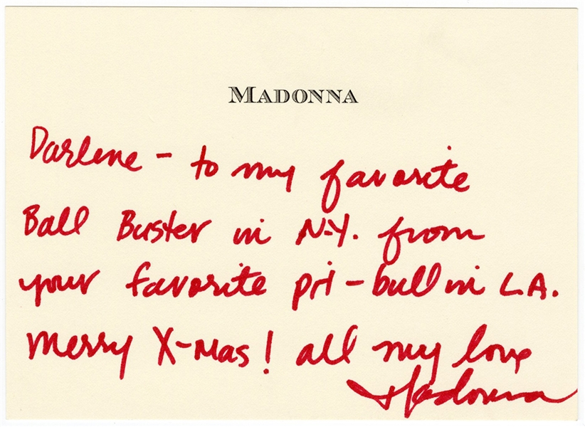 Madonna Handwritten & Signed Personal Notecard to Darlene Lutz