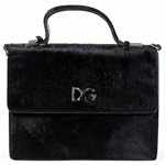 Madonna Owned and Re-Gifted A Black Patent Leather and Calf Fur satchel Handbag by Dolce & Gabanna, mid 1990's