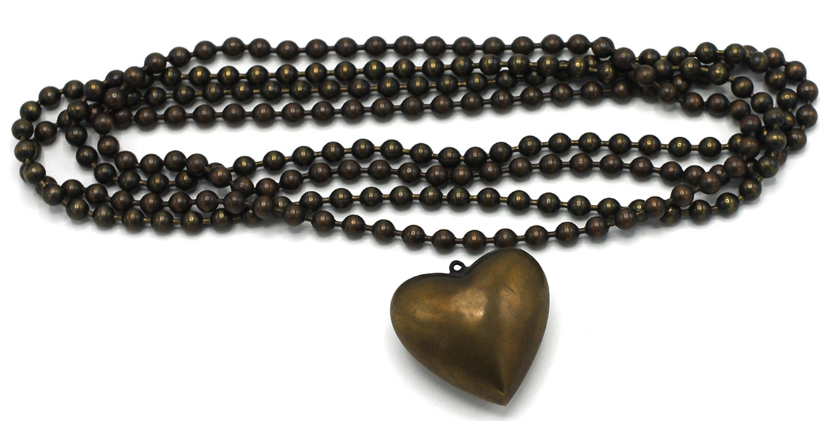 "Madonna Worn Ball Chain Metal Necklace with Puff Heart Pendant from Her ""Boytoy"" Era (Circa 1982)"