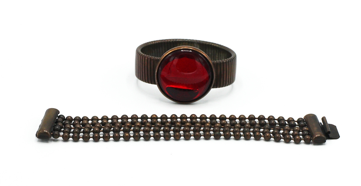 "Madonna ""Boytoy"" Era Owned and Worn Red Moon Stone Burnished Copper Metal Stretch Bracelet and Burnished Copper Ball Chain Bracelet"
