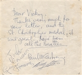 Beatles Paul McCartney Handwritten Letter 1963 Signed by The Four Caiazzo LOA
