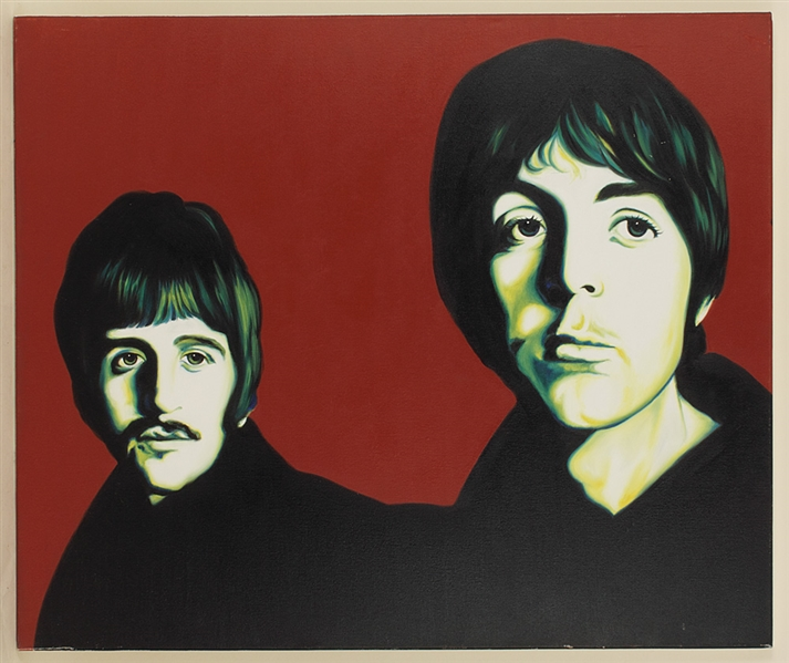 Beatles Original Triptych Paintings Signed by Artist Monrock
