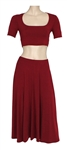 Taylor Swift  Red Crop Top & Skirt Set Worn at Selena Gomez Concert