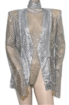 Beyoncé Jay-Z On the Run II World Tour Stage Worn Custom Silver Bodysuit and Jacket