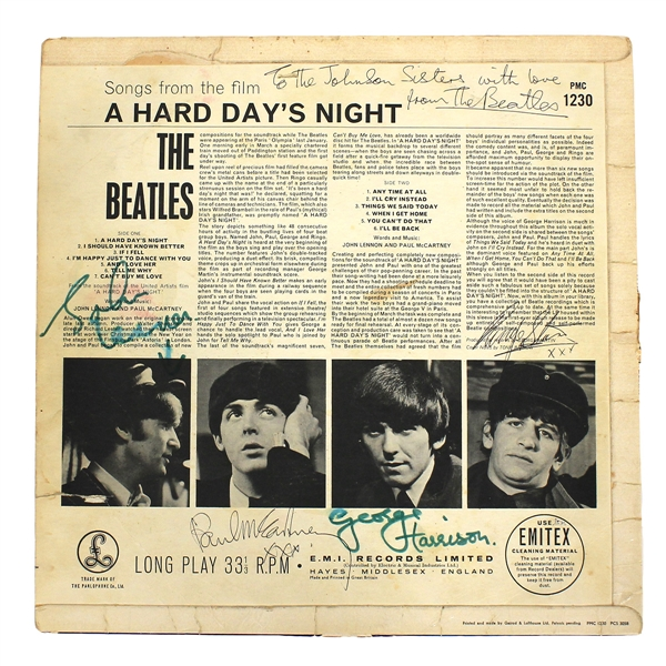 "Beatles 1964 Signed ""A Hard Days Night"" Album Authenticated by Frank Caiazzo"