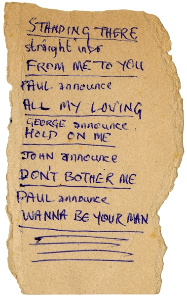Beatles Paul McCartney Handwritten 1963 Cheltenham Set List Signed by John Lennon and Ringo Starr with Frank Caiazzo LOA