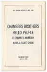 Chambers Brothers Original 1969 Fillmore East Concert Program