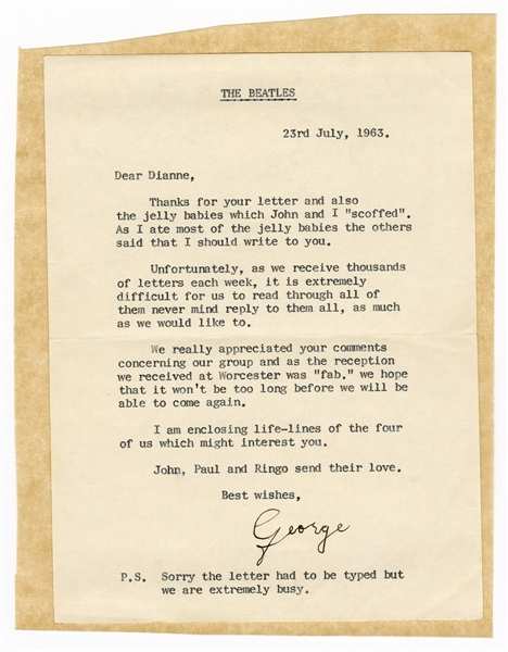 George Harrison 1963 typed Letter to a Beatles Fan Signed by his Mother