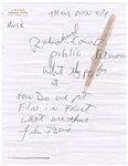 Michael Jackson Handwritten Notes Regarding Film