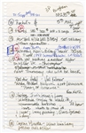 "Madonna Handwritten ""To Do"" List"