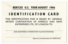 The Beatles Original August 1966 U.S. Tour ID Pass