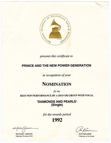 "Prince ""Diamonds and Pearls"" Original Grammy Nomination Certificate"