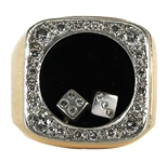 Elvis Presley Owned & Worn 14kt Gold Diamond Dice Ring