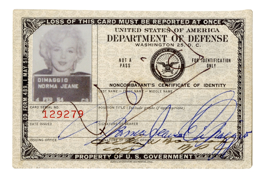 "Marilyn Monroe ""Norma Jeane DiMaggio"" Signed 1954 Korea ID for Entertaining the Troops"