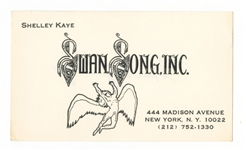 "Shelley Kaye Signed ""Swan Songs, Inc."" Business Card"