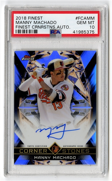 Manny Machado 2018 Topps Finest Cornerstones Autograph Card Graded PSA 10 GEM MINT