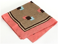 James Brown Owned and Worn Pink, Brown and Blue Geometric Scarf