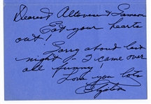 Elizabeth Taylor Handwritten & Signed Noted to Sammy Davis, Jr. and Wife Altovise