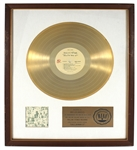 "The Rolling Stones ""Exile On Main Street"" Original RIAA White Matte Gold LP Record Album Award"