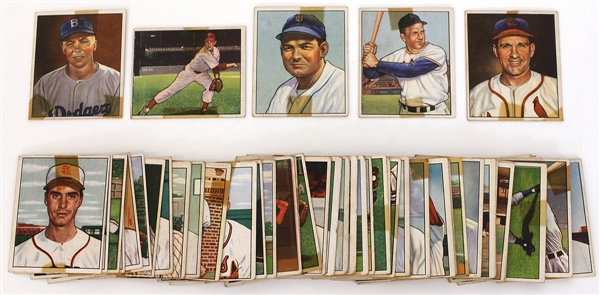 Group Lot of 1950 Bowman Baseball Cards (52) Including 5 HOFers