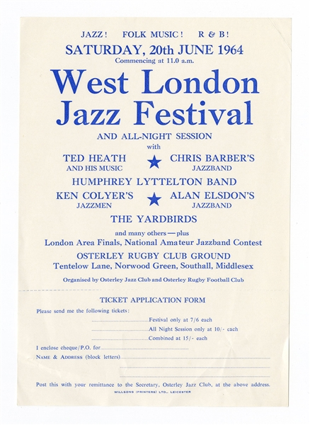 The Yardbirds Featuring Eric Clapton Original 1964 West London Jazzfest Concert Handbill
