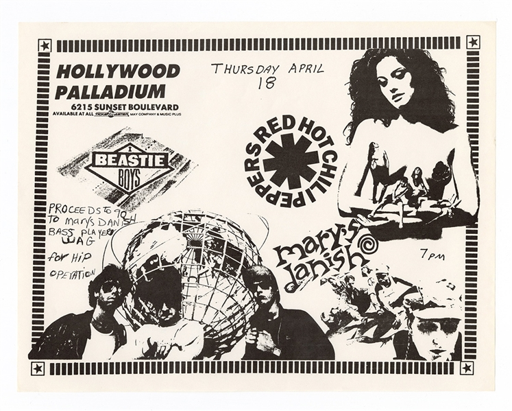 Beastie Boys /Red Hot Chili Peppers Original 1991  Hollywood Palladium Concert Handbill