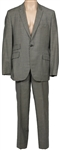 James Brown Owned and Worn Black & White Herringbone Two-Piece Suit
