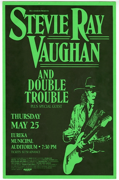 Stevie Ray Vaughan and Double Trouble Original 1989 Concert Poster